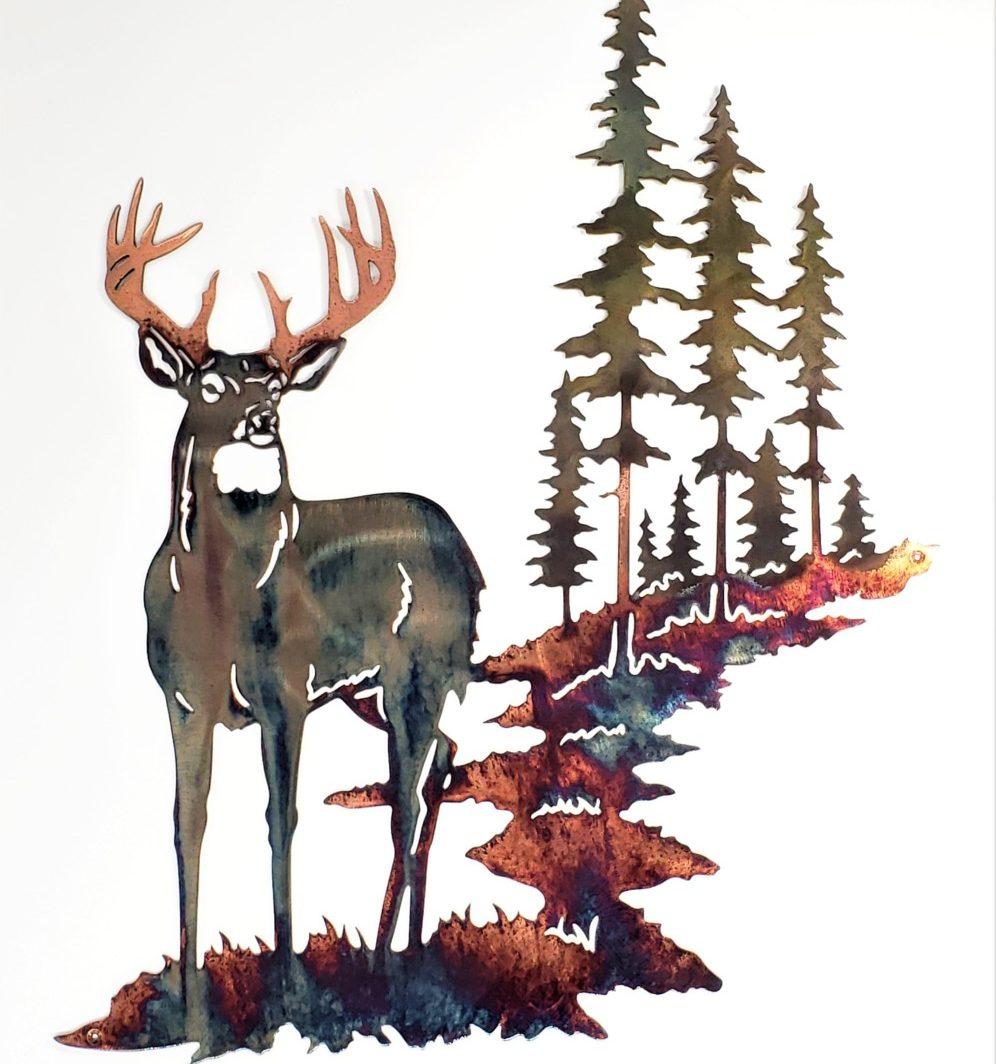 01 Pine Boss Whitetail Deer Metal Wall Art Metal Dècor Studios