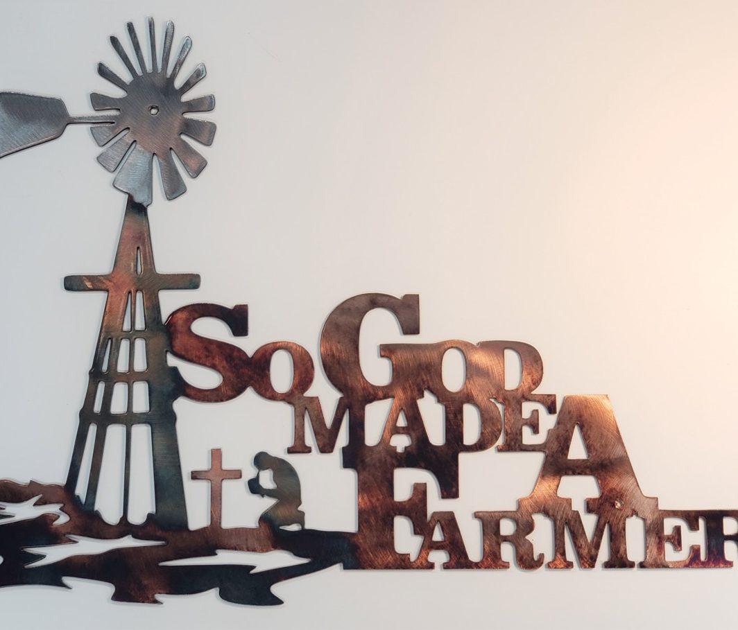 01 so god made a farmer Metal Wall Art Metal Dècor Studios