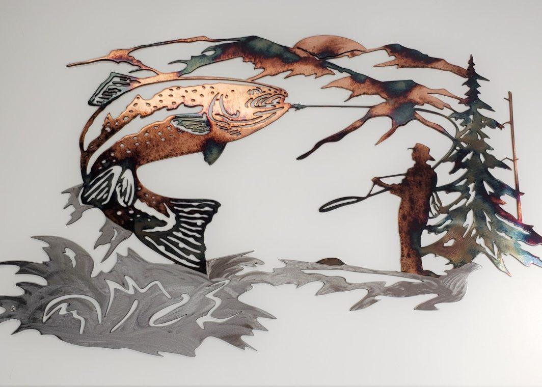 01 up at dawn trout fishing scene Metal Wall Art Metal Dècor Studios