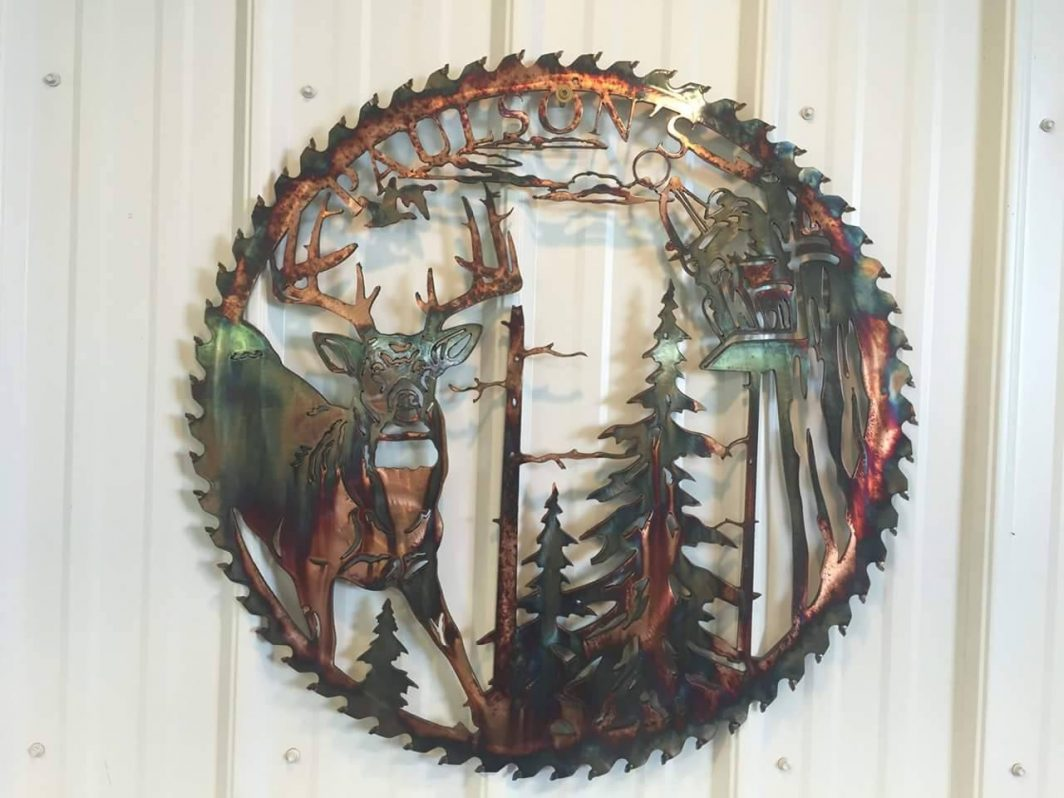 Saw Blade with Deer and Text